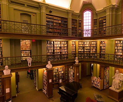 interior shot of library background image