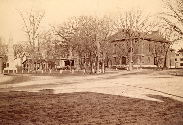 Alfred Munroe photograph of Monument Square, 1885