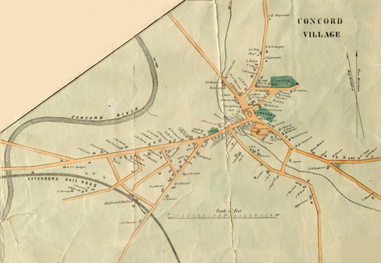 H.F. Walling.  Concord Village.  Inset from Map of the Town of Concord, Middlesex County, Mass., 1852