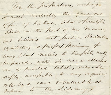 Ralph Waldo Emerson.  Manuscript subscription letter for herbarium to be made by Horace Mann, Jr., for the Concord  Town Library, [1866].