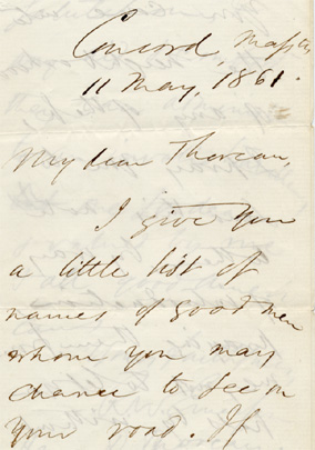 Ralph Waldo Emerson.  Autograph letter to Henry D. Thoreau (all-purpose letter of introduction for Thoreau in Minnesota), May 11, 1861