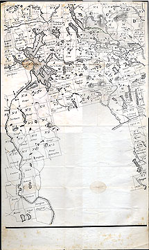 165 [Maine public lands map: one part (including Moosehead Lake and surrounding area) of printed multi-part sectional map; with manuscript annotations (in pencil) in Thoreau's hand; NOT MICROFILMED].