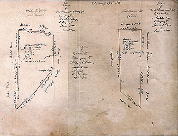 54  Plan of Woodlots Belonging to to Samuel Hoar, of Concord, Mass., Surveyed by Henry D. Thoreau, Ap. 5, 1854 [two surveys on one side of one sheet of paper]: Plan of the Poplar Hill woodlot, (so called) in Concord & Carlisle, Belonging to Samuel Hoar of Concord, Mass.;  Plan of the Hutchinson Woodlot (so called), in Carlisle, Mass., Belonging to Samuel Hoar of Concord, Mass.