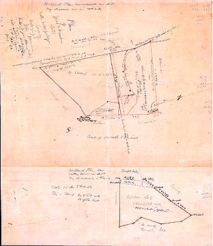 63a Plan of Wood & Meadow Lots in the Westerly Part of Concord Belonging to John Moore Enlarged from Plans Made by Cyrus Hubbard with Additions in Blue & Red Ink by H.D. Thoreau June 3 & 4, [18]56