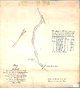 65a Plan of a Road (a continuation of another road,) Leading from Land of Luther Hosmer, Near the Road to Sudbury, Through Land of James P. Brown, to the Marlboro Road, at Land of Thomas Wheeler May 3, 1851