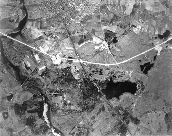 Aerial photograph of Concord showing Walden Pond