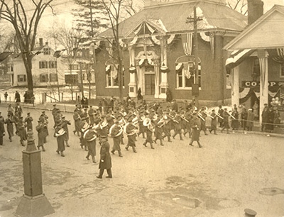 U.S. Marine Band Marching Across the Milldam, Concord, Mass., Apr. 19, 1925.