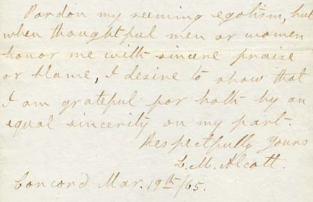 Section of: ALS, L[ouisa] M[ay] Alcott, Concord, [Mass.], to Mr. Ayer, 1865 Mar. 19