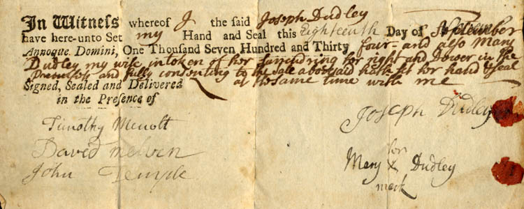 Deed, Joseph Dudley to Thomas Barrett ... 1734 Sept. 18