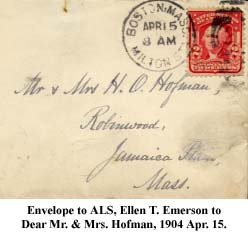 Envelope to ALS, Ellen T. Emerson to Dear Mr. & Mrs. Hofman, 1904 Apr. 15
