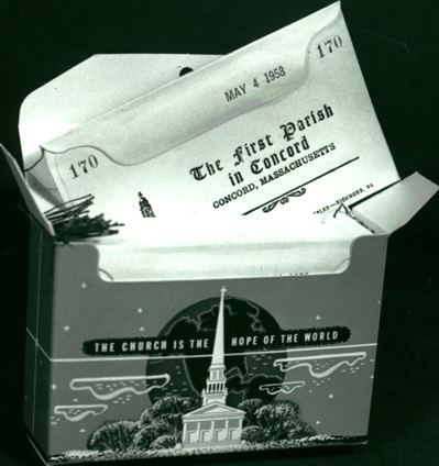 Donation envelopes featured in the 1958 Canvass brochure