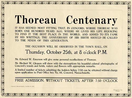Thoreau Centenary ...