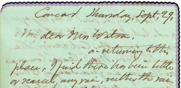 ALS, WEC, Concord, to My dear Mrs. Watson, [n.d.] Sept. 29