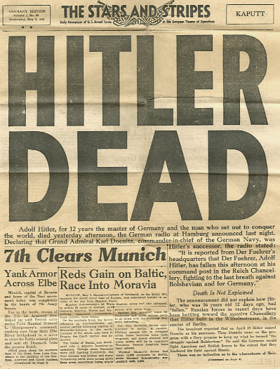 Newspaper clipping, Hitler Dead
