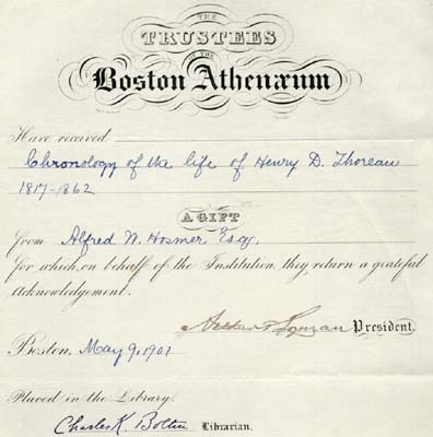 Gift letter from the Boston Athenaeum to Alfred W. Hosmer