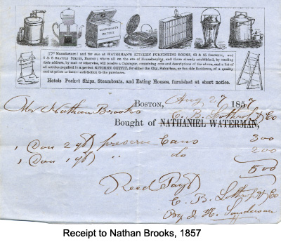 Receipt to Nathan Brooks