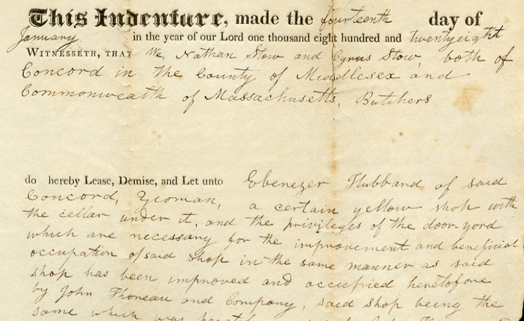 Lease, Nathan and Cyrus Stow to Ebenezer Hubbard, for yellow shop