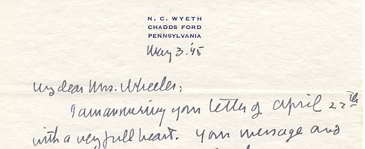ALS, N.C. Wyeth, Chadds Ford, Pa. to My dear Mrs. Wheeler, Concord, Mass. 1945 May 3
