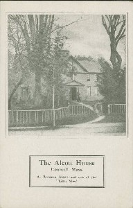 The Alcott House, Concord,  	Mass. A. Bronson and one of the 'Little Men'; early 20th century