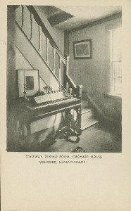 Stairway, dining room,  	Orchard House, Concord, Massachusetts; early 20th century