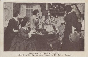 Scene from 'LITTLE  	WOMEN': Jo Sacrifices Her Hair to Secure Money for Her Father's Comfort; 1910s