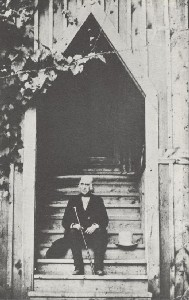 A Bronson Alcott on the  	Steps of the School of Philosophy, founded in 1879, Orchard House, Concord, Mass.; ca. 1975 (copyright date)