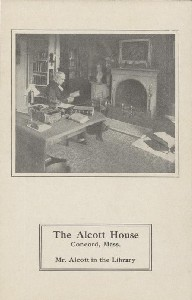 The Alcott House, Concord,  	Mass., Mr. Alcott in the Library; early 20th century