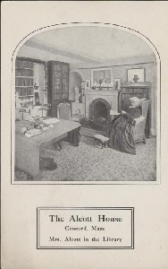 The Alcott House, Concord,  	Mass., Mrs. Alcott in the Library; early 20th century