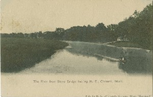 The River from Stone Bridge  	looking N. E., Concord, Mass.; early 20th century
