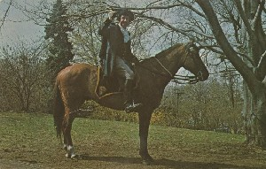 [Historical reenactor  	portraying William Dawes riding to warn Concord of the approach of the British army in 1775]; 1968 (copyright date)