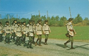 [Historical reenactors  	depicting marching Minute Men from Colonel Prescott's regiment]; 1970 (copyright date)