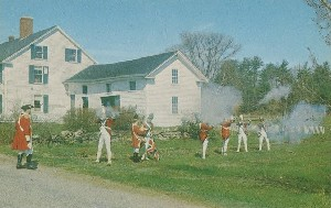 [Historical reenactors at  	Barrett House depicting British flankers in the Battle of 1775]; 1970s