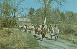 Southborough Companies  	pass through Sudbury near the Wayside Inn on their way to join the battle through Concord, Lexington and Menotomy (Arlington).; 1970 (copyright date)