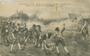 'The dawn of  	liberty' British regulars open fire on the minute men, April 19, 1775, Lexington, Massachusetts; early 20th century