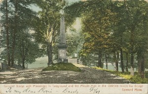 Concord Bridge with  	Monument in foreground and the Minute Man in the distance across the bridge, Concord, Mass.; circa 1906 (earliest postmark)