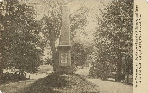 Battle monument,  	marking the spot where the British stood and found at the Old North Bridge, April 19, 1775, Concord, Mass.; early to mid- 20th century