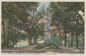 Battleground monument  	and 'Minute Man,' Concord, Mass.; early 20th century