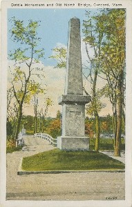 Battle Monument and Old 	 North Bridge, Concord, Mass.; early 20th century