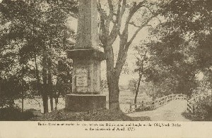 Battle Monument marks  	the spot where the British stood and fought at the Old North Bridge on the nineteenth of April, 1775;