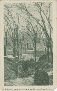Old Burying Ground and  	Unitarian Church, Concord, Mass; early 20th century