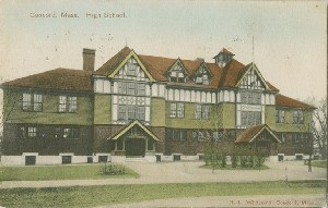 Concord, Mass. High  	School.; circa 1907 (postmark date)