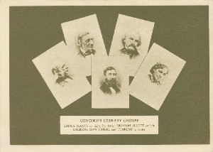 Concord's literary group,  	Louisa Alcott on right; her father Bronson Alcott on left; Emerson, Hawthorne and Thoreau in center.; mid-late 20th century