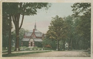 Public Library and Main  	Street, Concord, Mass.; early 20th century