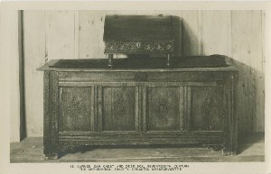 Carved oak chest and  	desk box, seventeenth century, The Antiquarian Society, Concord, Massachusetts; early to mid- 20th century