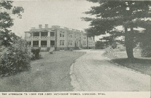 The approach to Home 	 for Aged Methodist Women, Concord, Mass.; early 20th century