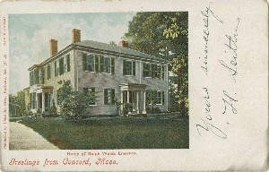 Greetings From Concord,  	Mass. Home of Ralph Waldo Emerson.; early 20th century