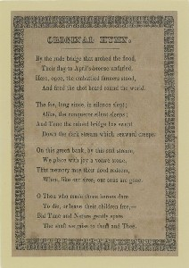 First appearance in print of  	Emerson's 'Concord Hymn ' [handbill, 1837], From William Munroe Special Collections, Concord Free Public Library. Permission is required to reproduce this image.; late 20th century or early 21st century